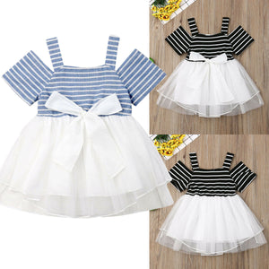 Toddler Girls Off Shoulder Suspender Stripe Dress Mesh Princess Skirt