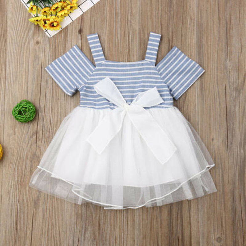 Toddler Girls Off Shoulder Suspender Stripe Mesh Dress