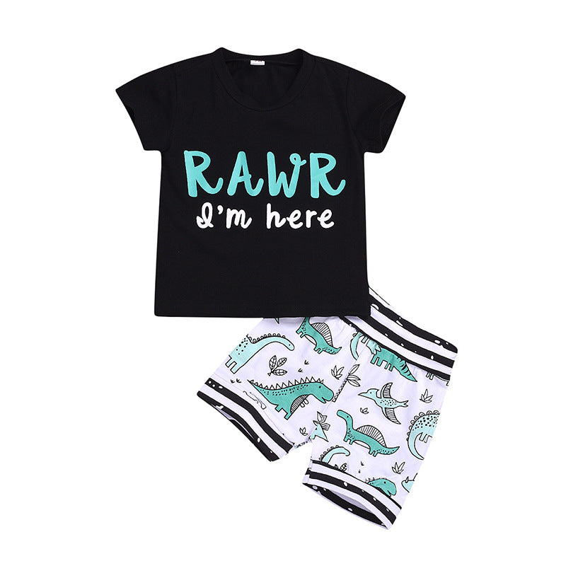 Boys Summer Baby Boys Letter Print Round Neck Short Sleeve T-shirt & Shorts Baby Clothes Wholesale Bulk