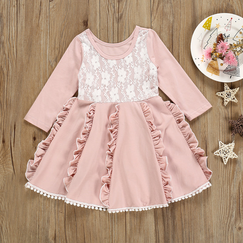 Fashionable Girl Lace Long-Sleeve Dress