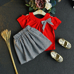 Stylish Off Shoulder Bowknot Decor Red Top And Plaid Skirt For Girls
