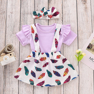 Baby Girl Solid Color Top & Feather Print suspender Skirt