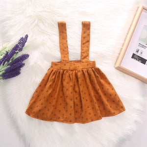 Toddler Girls Solid Color Flying Sleeve Dress Back Belt Skirt