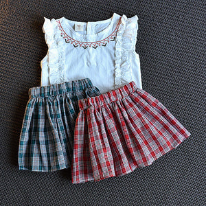 Girls Ruffled Sleeveless Top And Stylish Plaid Short Skirt