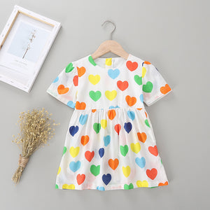 Girls Fashion Heart Allover Short Sleeve Princess Dress