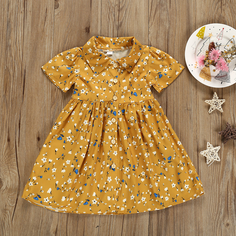 Girls Fashion Lapel Floral Allover Dress
