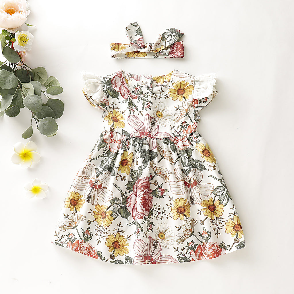 2-Piece Cute Fly Sleeve Flower Allover Print Princess Dress For Girls