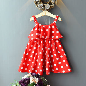Girls Fashion Sleeveless Dot Chiffon Princess Dress Suspender Skirt