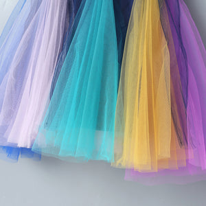 Girls Summer Sleeveless Contrast Color Rainbow Mesh Princess Skirt