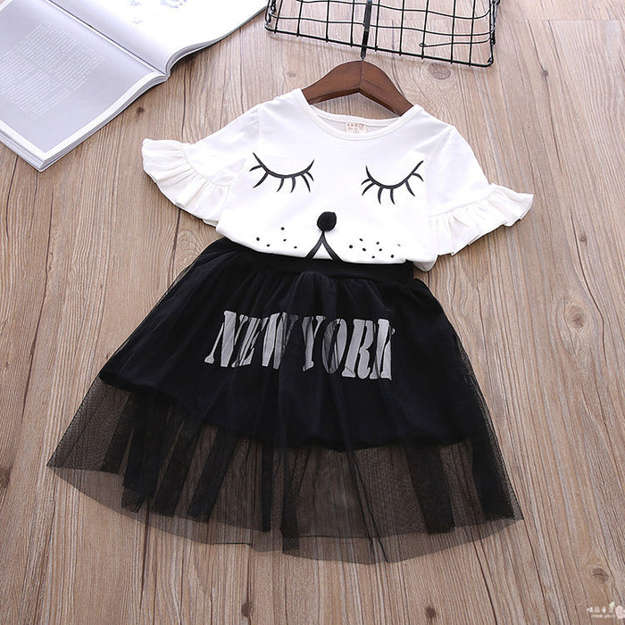 Girls Fashion Cartoon Trumpet Sleeve Top And Letter Printed Mesh Skirt
