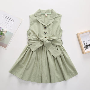 Girls Solid Color Sleeveless V Collar Single Breasted Bow Dress