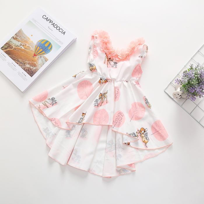 Toddler Girls Sleeveless Lace Collar Cartoon Printed Irregular Dress