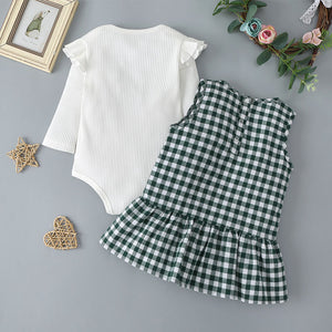 Baby Girls Fashion Solid Color Ruffled Long Sleeve Top and Plaid Skirt