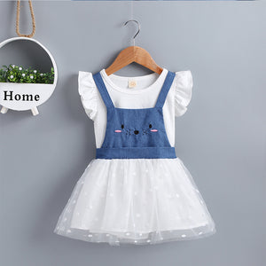 Baby Girls Solid Color Top & Mouse Print Suspender Mesh Skirt