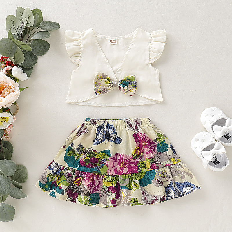 Baby Flying Sleeve V-Neck Bow Top & Flower Allover Skirt