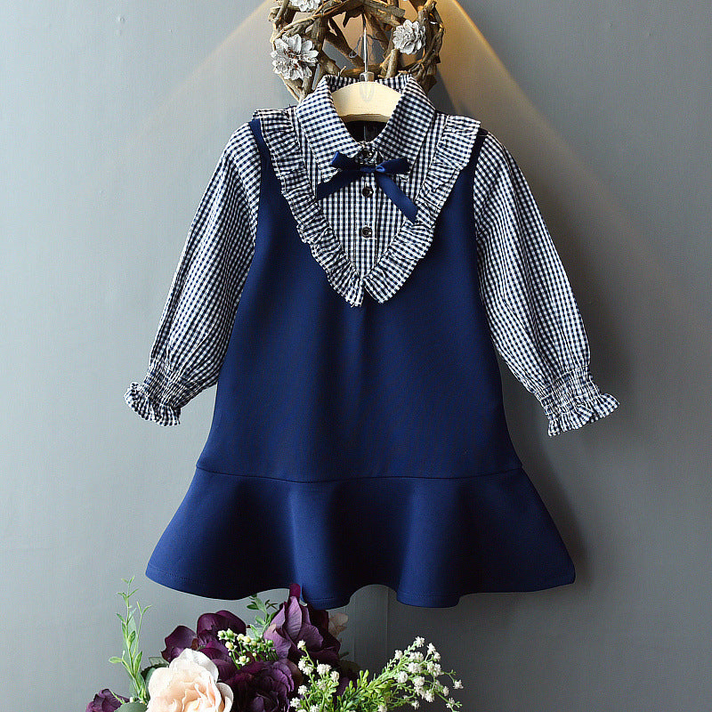 Fashion Fake Two-Piece Plaid Skirt Bowknot Decor Dress For Girls