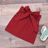 Toddler Girls Lace Short Sleeve Bow Solid Color Skirt
