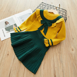 2-Piece Stylish Knitted Sweater Top And Solid Pleated Skirt For Girls