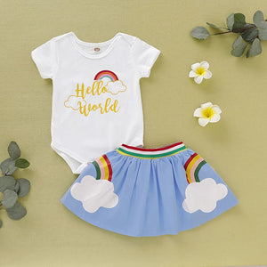 Cute Rainbow Short Sleeve Top Rainbow Short Dress for Toddler Girls