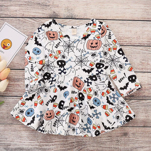 Cute Pumpkin Print Princess Dress For Toddler Girls