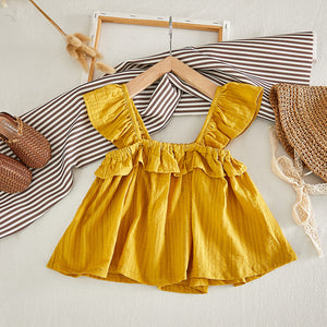 Girls Ruffle Sleeve Suspender Top And Pineapple Striped Print Dress
