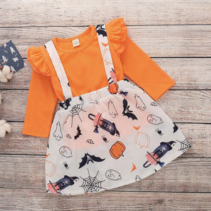 Toddler Girls Cute Solid Color Top And Cartoon Printed Suspender Skirt