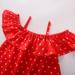 Beautiful Girls Printed Polka Dot Suspender Dress Princess Short Skirt
