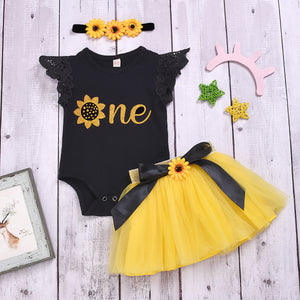 3-Piece Solid Color Letter Print Top Bow Mesh Dress For Toddler Girls