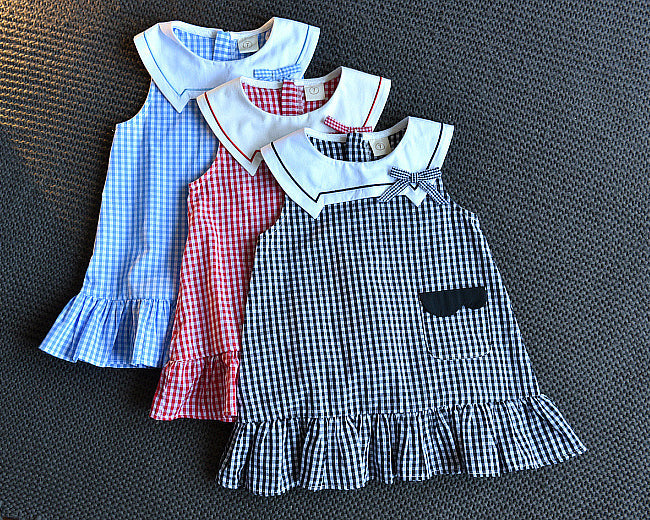 Girls Fashion Sleeveless Lapel Dress Plaid Pocket Princess Dress