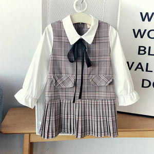 Girls Fashion Plaid Dress Doll Collar Long Sleeve Pleated Skirt