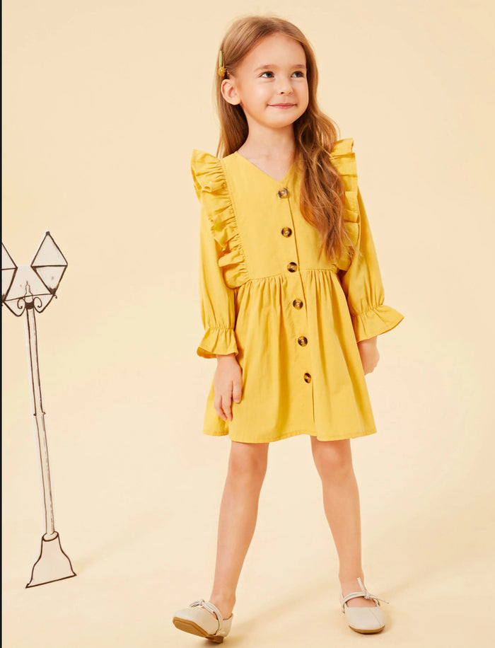Girl Solid Color Button Ruffle Princess Dress V-Neck Long Sleeve Dress