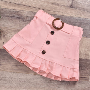 Girls Fashion Turtleneck Button Top Solid Button Skirt