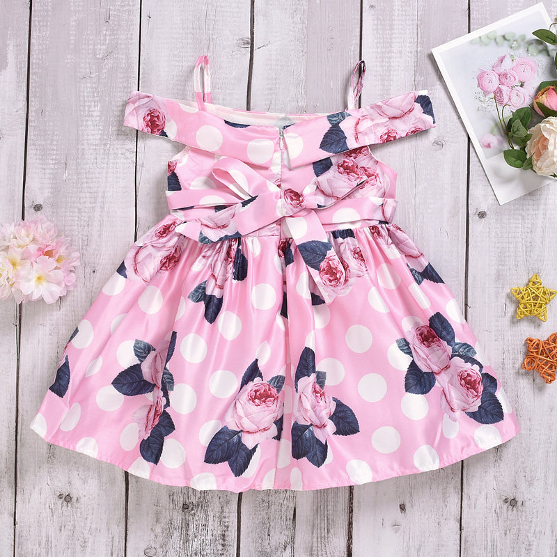 Girls Print Flower Pleated Suspender Dress Off Shoulder Princess Dress