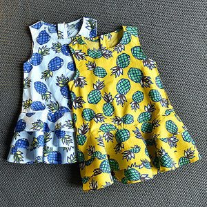 Girls Sleeveless Pineapple Print Princess Skirt Layered Design Dress