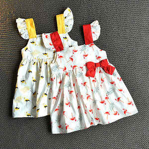 Girl Flamingo Print Dress Suspender Skirt Bowknot Decor Princess Skirt