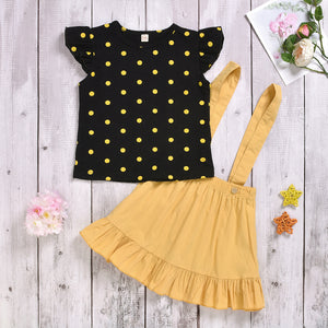 Toddler Girls Polka Dot Fly Sleeve Top Suspender Pleated Skirt