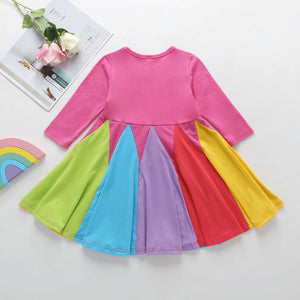 Girls' Long Sleeve Round Neck Contrast Color Rainbow Princess Skirt