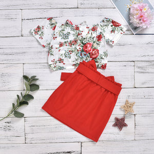 2-Piece Flower Print Top Solid Color Beaded Bow Skirt for Girls