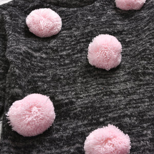 Toddler Girls Rabbit Fur Ball Long Sleeve Top And Mesh Fur Ball  Skirt