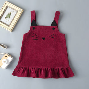 Baby Girls Solid Color Doll Collar Top & Cat Printed Corduroy Skirt