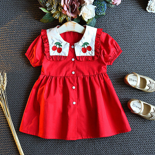 Girls Fashion Cherry Doll Collar Princess Dress Red Dress