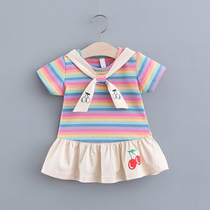 Toddler Girls Preppy Style Dress Fashion Tie Striped Cherry Skirt