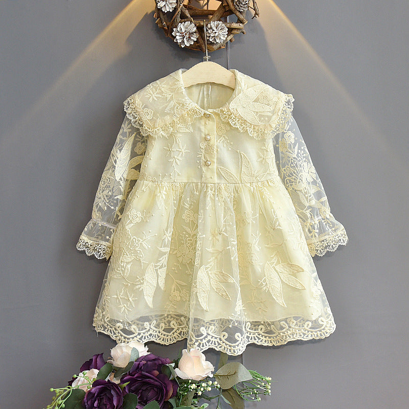 Girls Fashion Embroidered Lace Princess Dress Doll Collar Dress