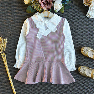 Girls Fashion Fake Two Striped Dress Long Sleeve Pleated Skirt