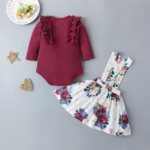Baby Girls Long Sleeve Top And Floral Allover Print Suspender Skirt