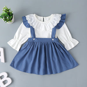 Baby Girl Fashion Doll Collar Lace Long Sleeve Top And Back Belt Skirt