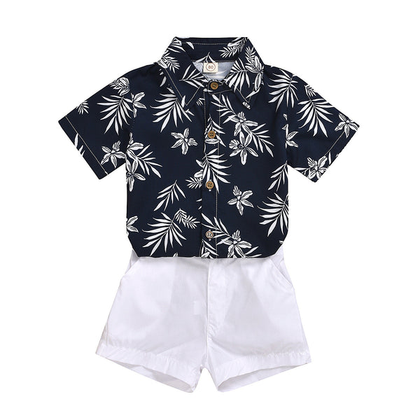 Boys Summer Boys' Lapel Print Leaf Short Sleeve Shirt & White Shorts Toddler Boy Sets