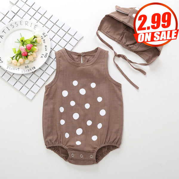 14PCS No Profit On Sale Clearance & Closeout Specials Baby Unisex Polka Dot Printed Sleeveless Romper & Hat wholesale baby boutique clothing