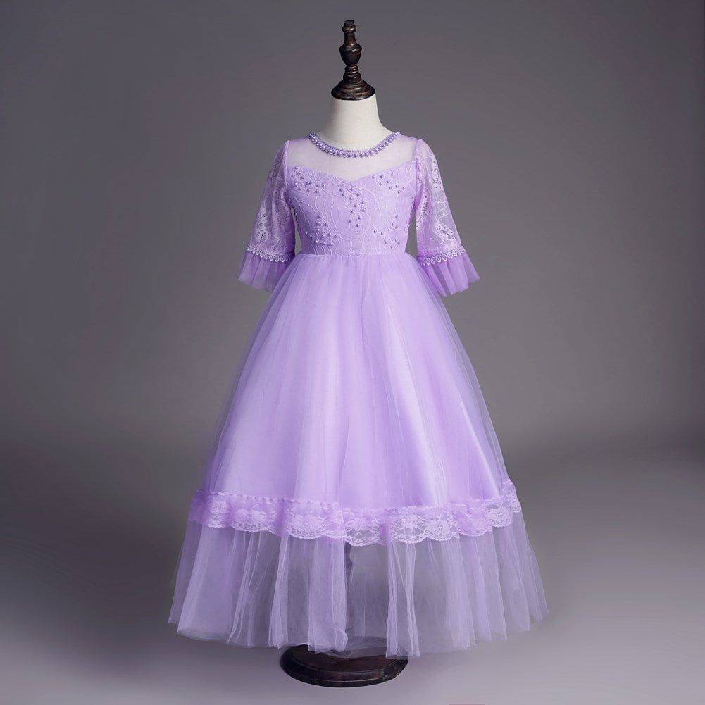 Flower Girl Dress Middle Sleeve Lace Princess Dress Evening Dress