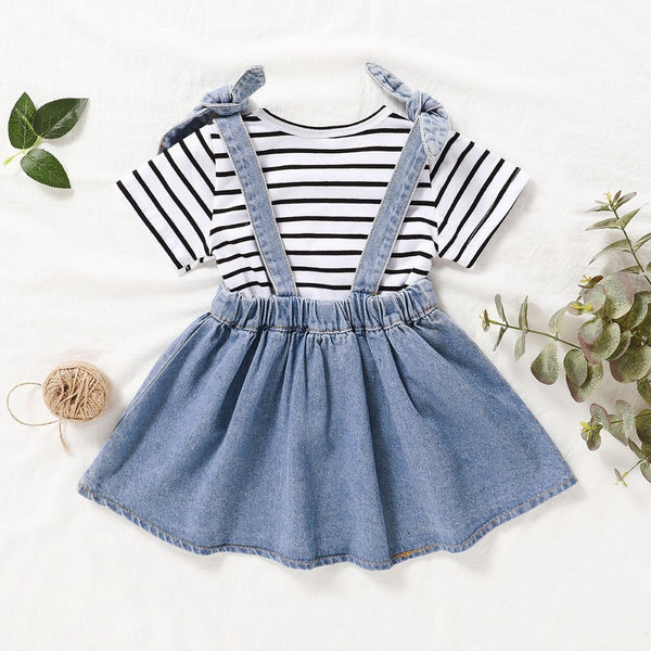 Girls' Striped Round Neck Short Sleeve T-Shirt & Denim Strap Skirt Wholesale Little Girls Clothes